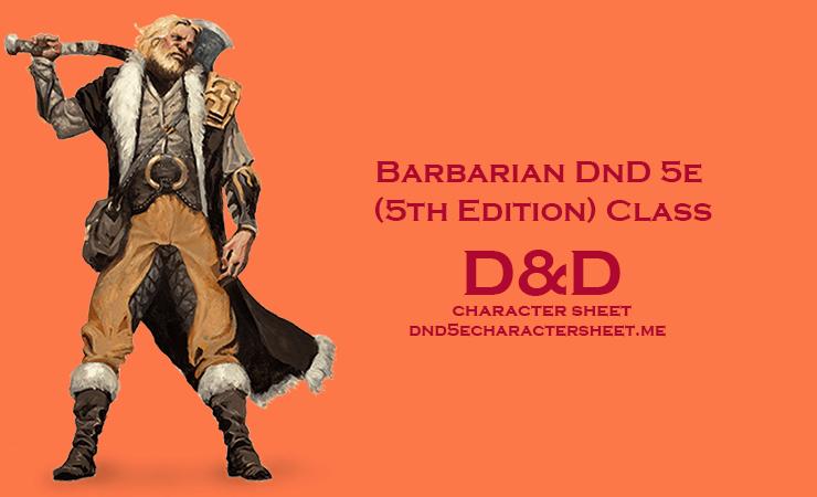 Barbarian DnD 5e (5th Edition) Class